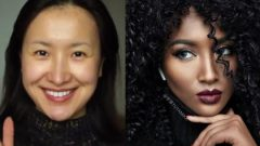 Korean Yuyamika turned into a black woman with makeup